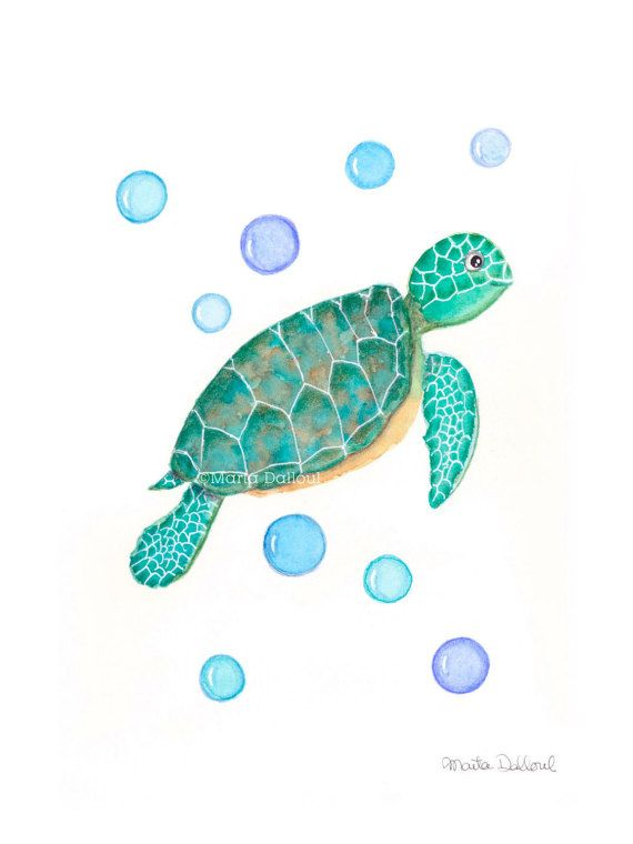 Sea Turtle art print.  This is a print of an original watercolor painting of a sea turtle. Its part of the Under the Sea collection. Cute, refreshing and whimsical art, perfect for children rooms, nursery or bathroom.  Print is sold unframed. Signed, dated and titled on the back. It ships well protected in a cellophane sleeve inside a rigid envelope.  Watermark will not show on the actual painting.  Colors may vary from what you see on your screen.  More under the sea art https://ww...