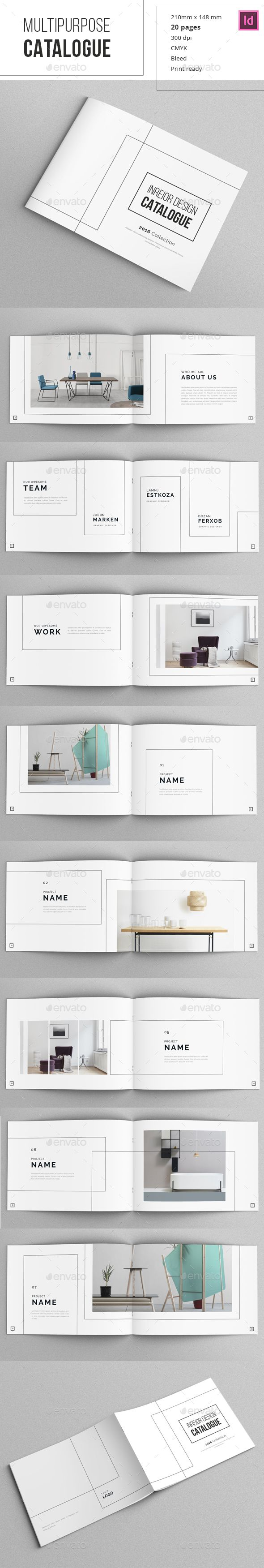 Minimal Indesign Catalogue Template InDesign INDD #Design #Layout #DPS #Typography