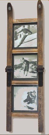 Photos de famille bien mises en valeur pour conseerver son style chalet - http://www.vintagesnow.net/3-Pane-Ski-Frame-p/frame3pane1.htm