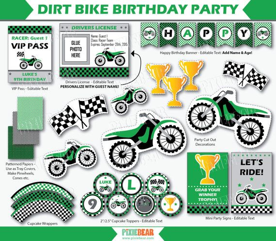 Dirt Bike Birthday Motocross Party Motorcycle by PixieBearParty