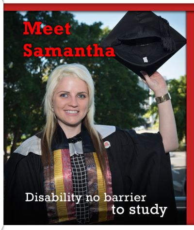 "Meet Samantha. Disability no barrier to study for Sam. ""I want to be part of an organisation that can make a change and close the gap between the wider Australian community and Aboriginal people."" #G30 http://griffithcareers.com/2014/08/19/disability-no-barrier-to-study-for-sam/"