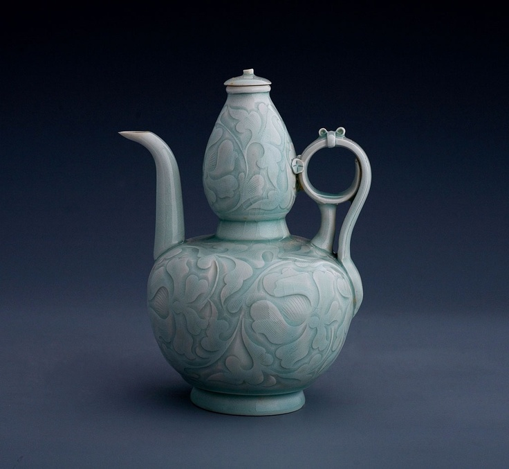 "Awesome handle on this ""Rare 'yingqing' (shadow blue) double-gourd-shaped Vase"" (?), Southern Song Dynasty c. 1127-1279 China."