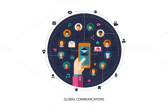 Global Communication Illustration by Decorwith.me Shop on Creative Market