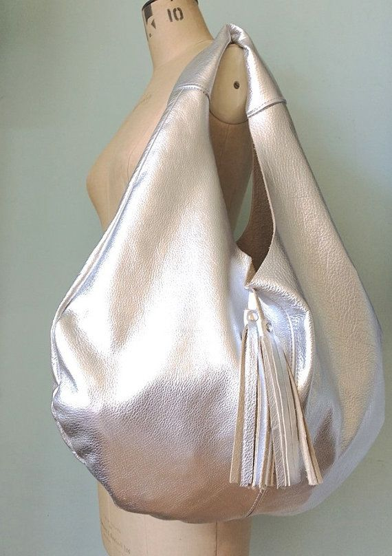 Leather hobo bag silver leather slouch bag by GingerandBrown