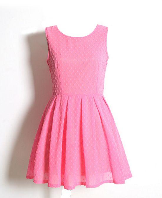 Dots Print High Waist Chiffon Dress
