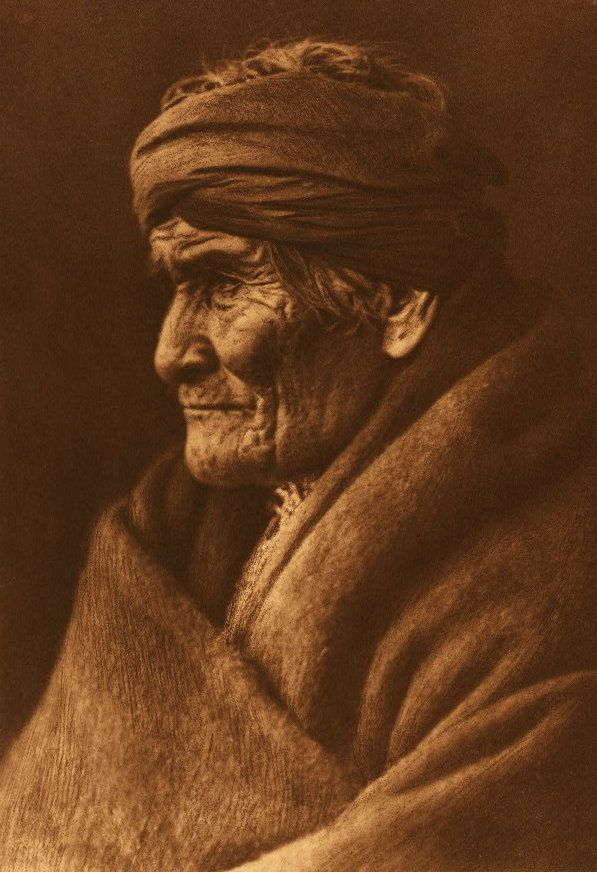 """""""Geronimo"""" Apache 1905 - Edward S. Curtis Description by Edward S. Curtis: This portrait of the historical old Apache was made in March, 1905. According to Geronimo's calculation he was at the time seventy-six years of age, thus making the year of his birth 1829. The picture was taken at Carlisle, Pennsylvania, the day before the inauguration of President Roosevelt, Geronimo being one of the warriors who took part in the inaugural parade at Washington."""