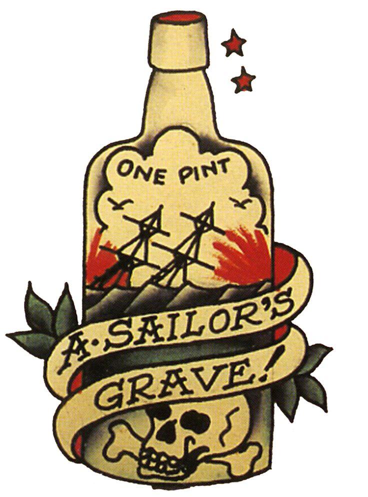 Sailor Jerry, Vintage, Tattoo, Aloha, A sailors Ruin, Ship in Bottle, T Shirt