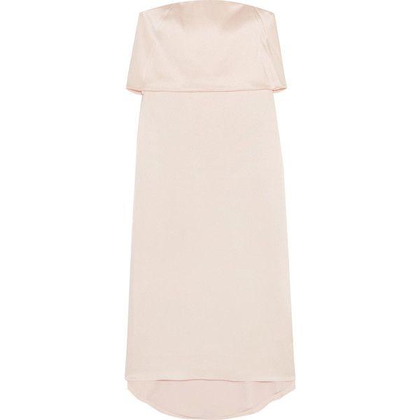 Halston Heritage Layered satin dress ($420) ❤ liked on Polyvore featuring dresses, metallic cocktail dress, strapless cocktail dresses, evening cocktail dresses, strapless dresses and pink strapless dress