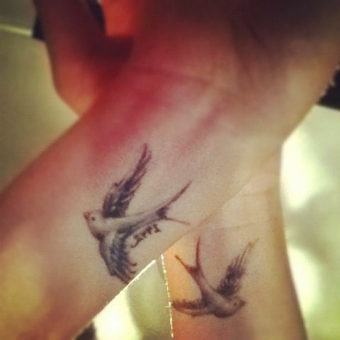 Swallow wrist tattoos. The swallow is a bird that chooses a mate for life and will only nest with that bird and no other. Therefore a swallow tattoo is also a symbol of love & loyalty. Swallow pairs travel long distances, only to find their way back to each other at home.