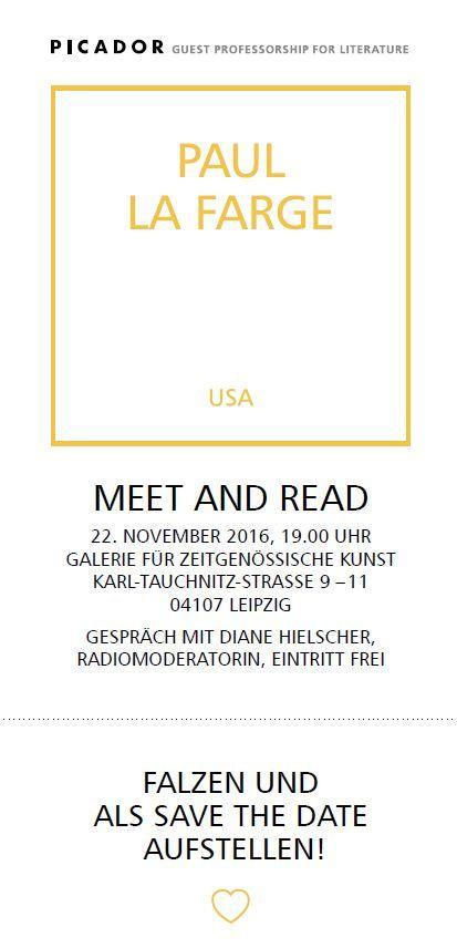 #Reading with Picador Guest Professor Paul La Farge in #Leipzig at Galerie für Zeitgenössische Kunst.