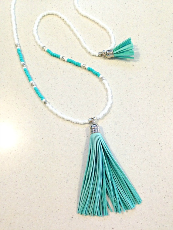 Boho Aqua Tassel Necklace