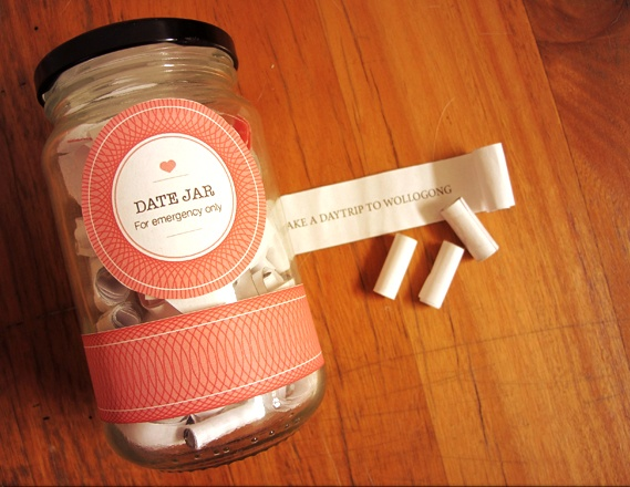 """""""he idea is pretty simple, print out as many date ideas as you can, put them in a jar, take one out whenever you are stuck for ideas, and ta da, a super fun date to plan and look forward to."""""""