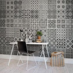 You can create endless variety with Marrakech-inspired tiles that fit perfectly on the floor and wall as well as in the ceiling. Even though this wallpaper features bold patterns it comes of as quite elegant and suits most homes. It can also be combined with plain white tiles to create your personal version.