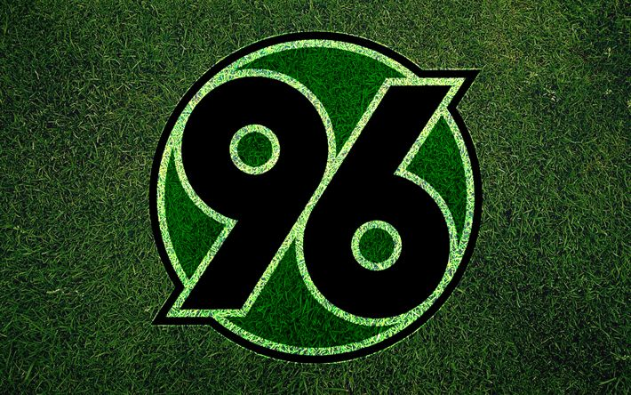 Download wallpapers Hannover 96, emblem, Bundesliga, soccer, football club, FC Hannover, grass texture, logo