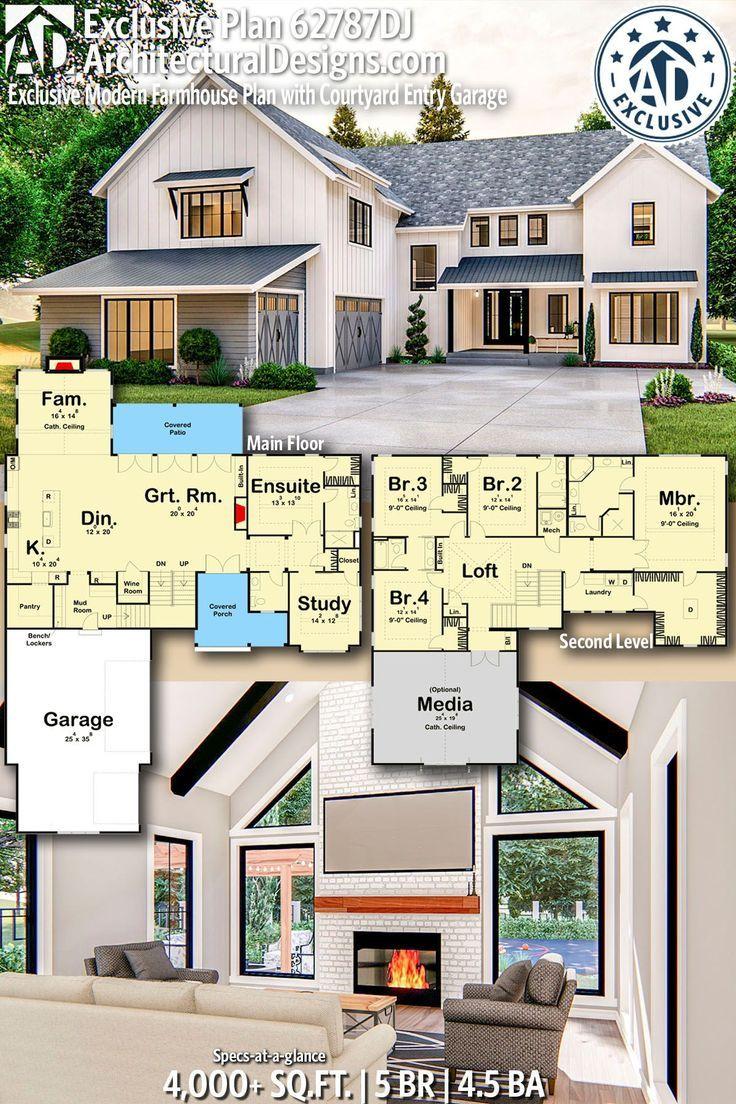 Plan 62787dj Exclusive Modern Farmhouse Plan With Courtyard Entry Garage In 2020 Modern Farmhouse Plans Farmhouse Plans House Plans Farmhouse