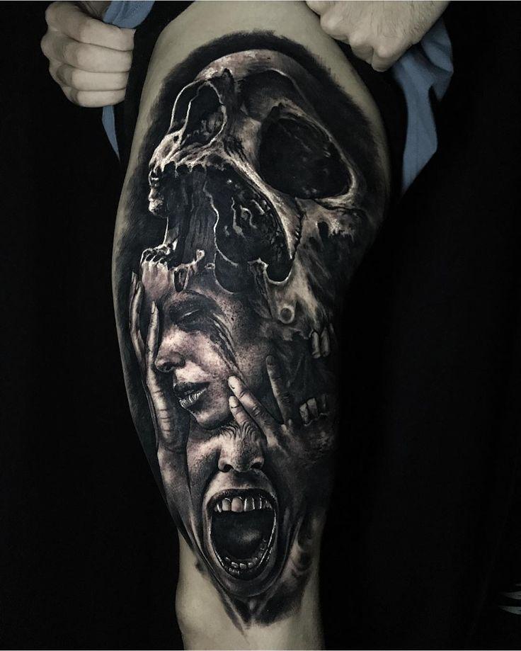 Steve Butcher bw realistic tattoo art Scary tattoos