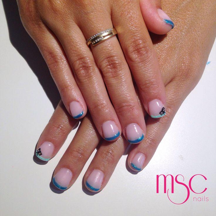 #mscnails #nails #uñas #hardgel #semilac #french #bluefrench #bow #nailart #gelpolish #esmaltesemi