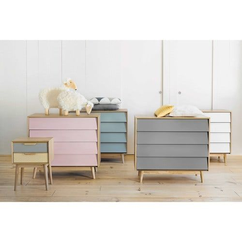 Wooden vintage chest of drawers in grey W 90cm