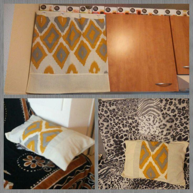Création d'un petit rideau et deux coussins, Tissu utilisé : un grand rideau.