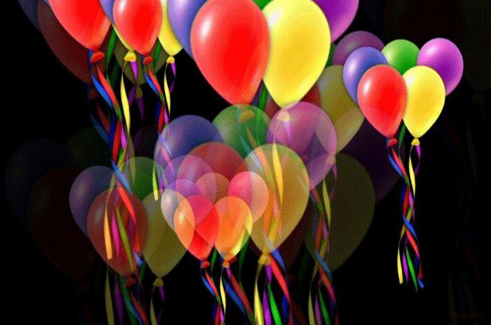 Девочке год, гифка шары с днем рождения