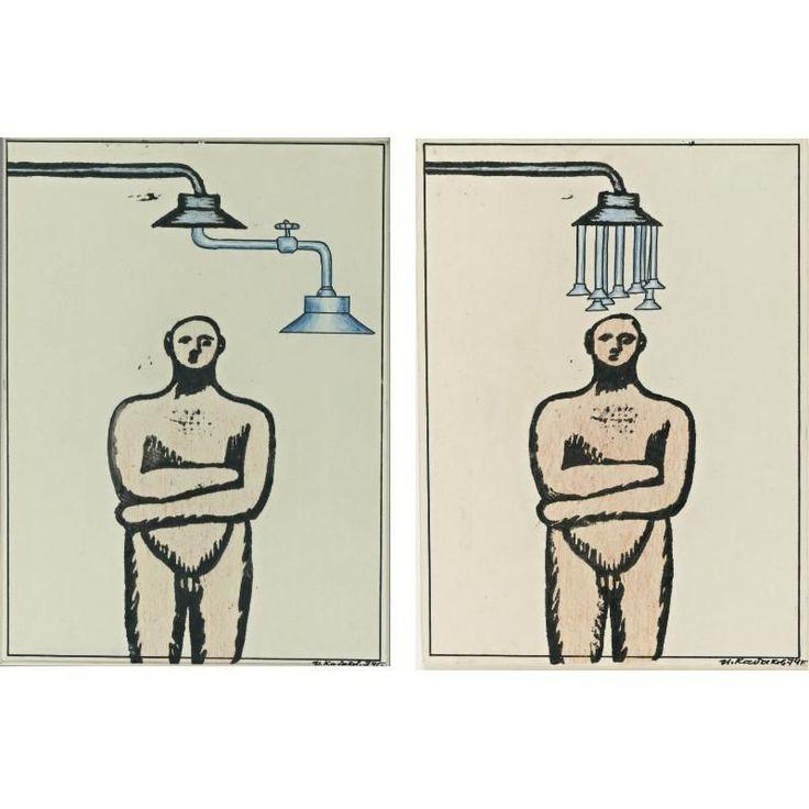 Artwork by Ilya Kabakov, RUSSIAN, B. 1933 MAN UNDER THE SHOWER: A