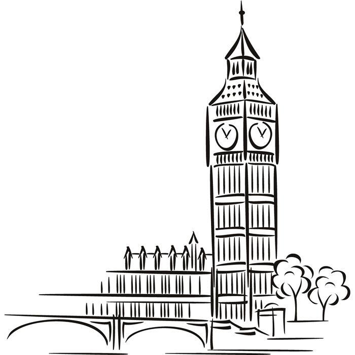 Dibujo Big Ben Pegatina de Pared. Arte de Pared Lugar Conocido | eBay