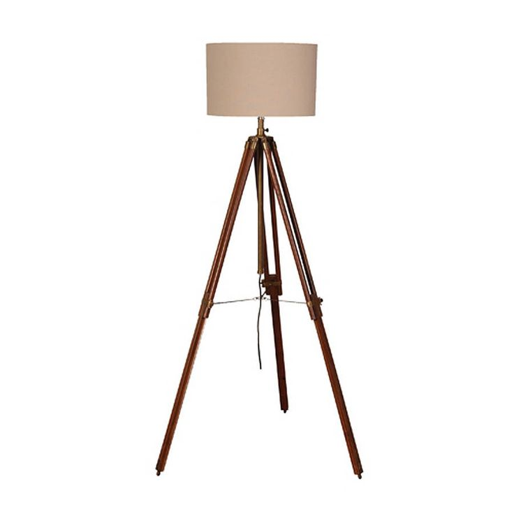 brass & wood tripod floor lamp with shade by the orchard | notonthehighstreet.com