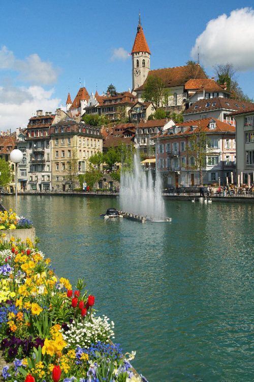 Thun, Switzerland - the Celts called it Dunum (fortified city) - Rome conquered it in 58 BC - lost it to the Burgundians about 400 AD - it went to the Holy Roman Empire in 1033 - & was bought by the canton of Bern (in which it remains) in 1384 - it's located at the confluence of the River Aar & Lake Thun (Thunersee)
