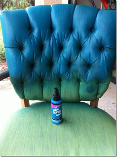 need to do this for vintage chair in KIRA's college home! easier & less $$ than recovering free chairs! New Paints To Use On Upholstery! Hyphen Interiors