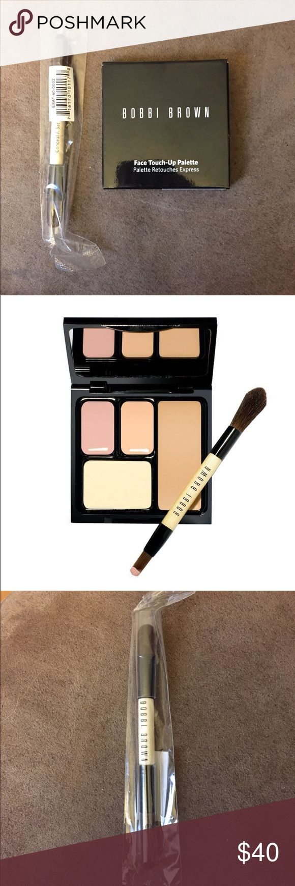 NWT Bobbi Brown face touch up palette NWT never opened Bobbi Brown face touch up palette. Foundation stick in Sand, Corrector in Light Bisque, Creamy concealer in Sand, and sheer finish pressed powder in Pale Yellow. Comes with small conceal and set brush. Perfect for your handbag or travel! Bobbi Brown Makeup Foundation
