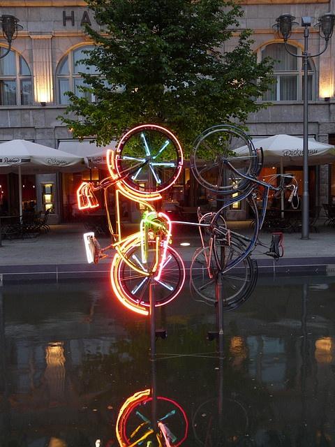 Neon bike, Potsdamer Platz, Berlin, Germany