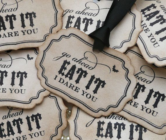Eat It I Dare You Halloween Labels - Gothic or Halloween Weddings - Set of 8 As Featured on Etsy Front Page on Etsy, $8.80