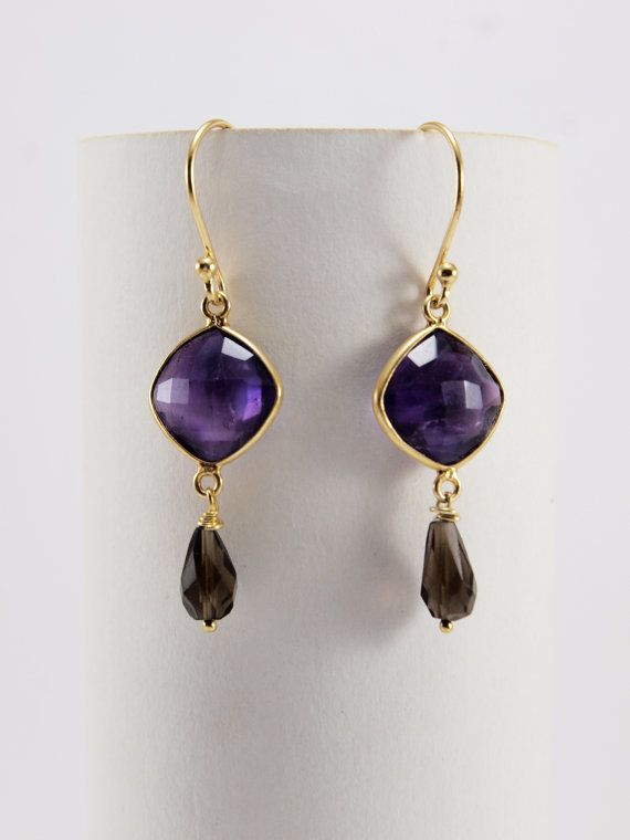Amethyst  And Agate Earrings by HippieChicJewelryAth on Etsy