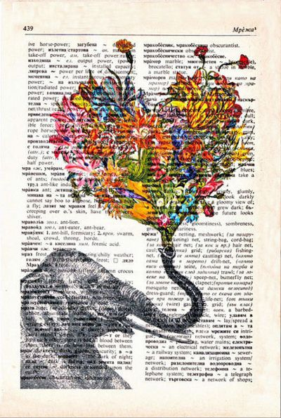 -.-: Book Art, Idea, Old Book Pages, Inspiration, Color, Elephants Art, Things, Drawing, Altered Book