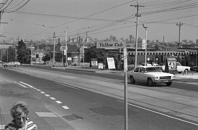 Taxi - High Street Northcote 1976, via Flickr.