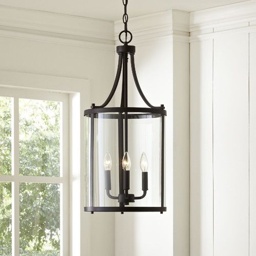 Features:  -Number of lights: 3.  -Shade color: Clear.  -Clean with dry cloth.  Product Type: -Foyer/Lantern pendant.  Shade Material: -Glass.  Shade Color: -Clear.  Material: -Metal.  Bulb Type: -Inc