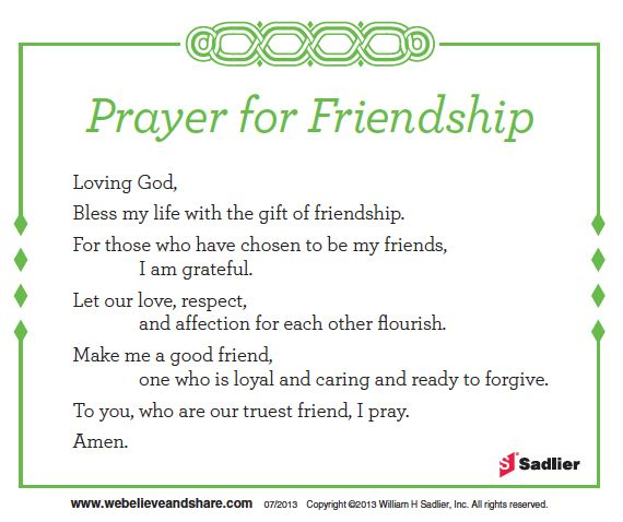 Download a Prayer for Friendship and use it in your parish or home. http://go.sadlier.com/wbas-prayer-for-friendship #Catholic #Prayer #Friendship