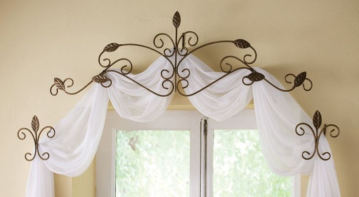 tie backs and valances for no sew window treatments - http://www.ebay.com/itm/3-Pc-Scrolled-Iron-Leaf-Design-Window-Curtain-Rod-Tie-Back-Scarf-Set-Headboard-/110954417359
