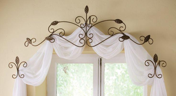 tie backs and valances for no sew window treatments - http://www.ebay.com/itm/3-Pc-Scrolled-Iron-Leaf-Design-Window-Curtain-Rod-Tie-Back-Scarf-Set-Headboard-/110954417359