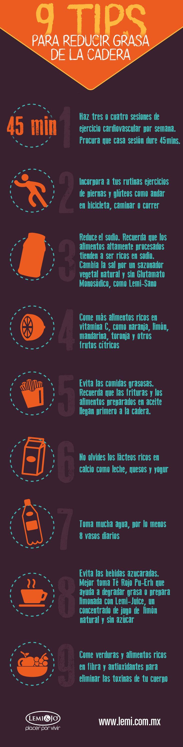 Infografía: 9 #tips para reducir #grasa de la cadera. #salud y #belleza