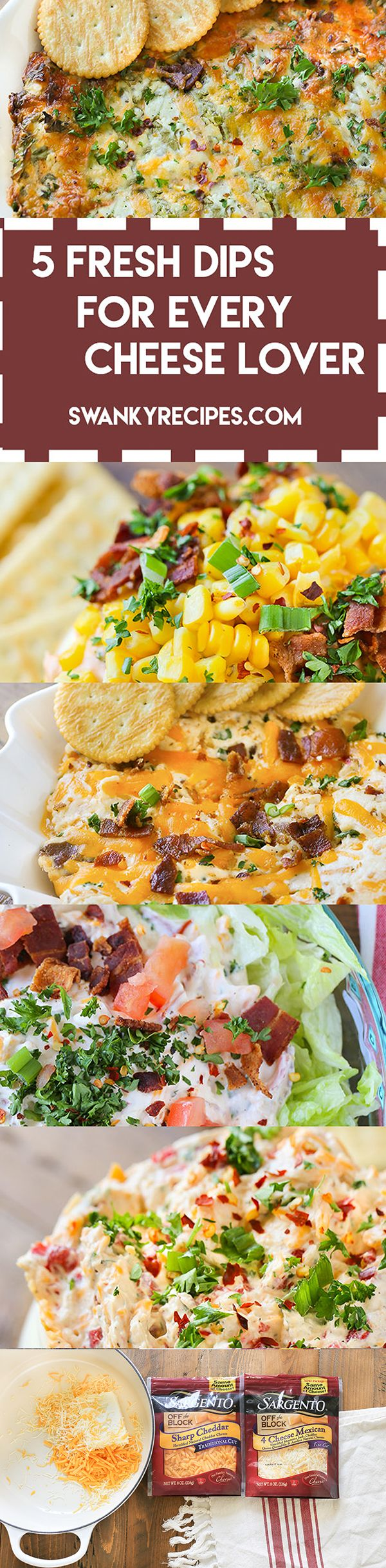 #ad Five Fresh Dip Recipes made with @sargentocheese.  Classics include Cheesy Spinach Dip and Pimento Cheese.  New favorites such as Charleston Cheese Dip and Bacon Corn Dip are a must try!  If you're a BLT lover, you'll want to try this dip with a new twist! #RealCheesePeople #IC