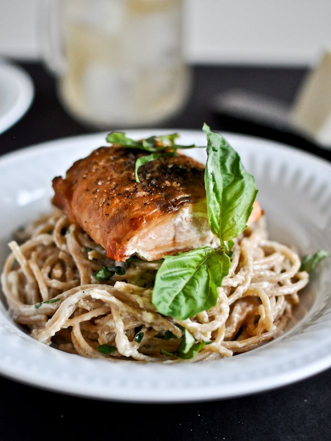 30 Minute Crispy Salmon with Creamy Basil Noodles: Noodles Recipes, Salmon Wbasil, Minute Crispy, Crispy Salmon, Food, Creamy Basil, Savory Recipes, 30 Minute, Wbasil Noodles