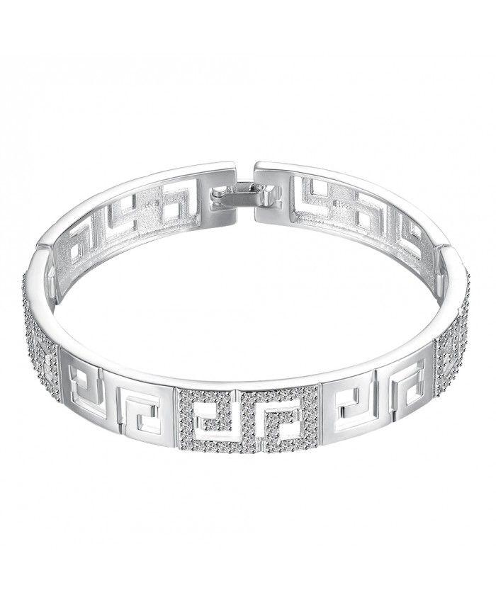 B011 Geometric Hollowing 925 Sterling Silver Fashion Bracelet For Womens