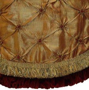 "Elegant Christmas Tree Skirts | 56"" Gold Christmas Tree Skirt with Burgundy Trim review | buy, shop ..."