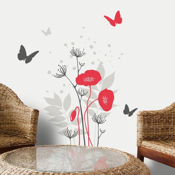 Avignon   Poppies Flowers With Butterflies Wall Decal   Red/grey. $35.00,  Via Part 70