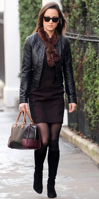 December 22, 2011 - Pippa Middleton mixed browns and blacks when she headed to work in her black Whistles leather jacket, two-tone dress, brown scarf, and two-tone Loewe bag.