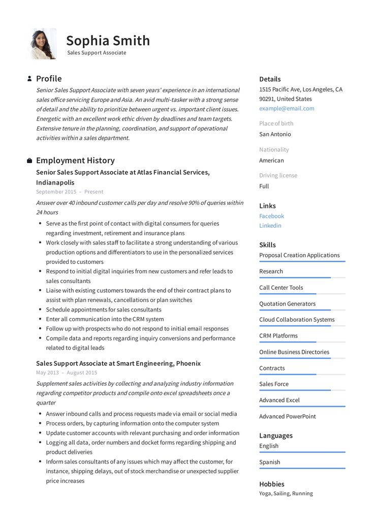 Sales Support Associate Resume Template in 2020 Resume
