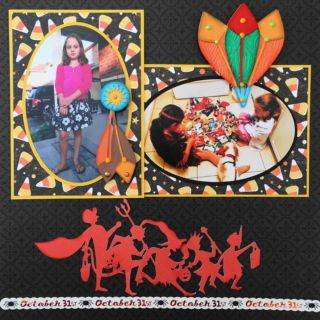 This is a Halloween scrapbook page idea with a Native Indian Princess theme. The Native Indian and feather images are from Cricut Autumn Celebrations cartridge. To learn how to make the layout, go to my blog at Halloween Scrapbook 3 - with Fall & Thanksgiving - Me and My Cricut