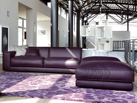 This oversized, lush, plush purple leather sofa from Ditre Italia beckons you with its alluring color, but you'll stay for the comfort. The Blob sofa features soft foam padding,...