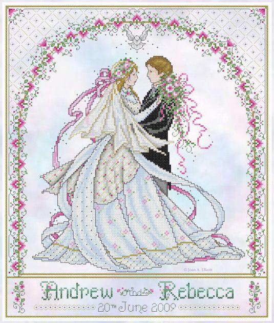 wedding cross stitch patterns free to print   wedding samplers. cross stitch wedding   Joan Elliott